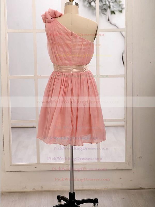 Junior Short/Mini Chiffon with Flower(s) One Shoulder Bridesmaid Dresses #PWD01012472