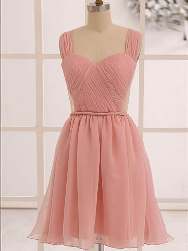 Knee-length Sweetheart Straps Pearl Pink Chiffon Sexy Backless Bridesmaid Dress #PWD01012473