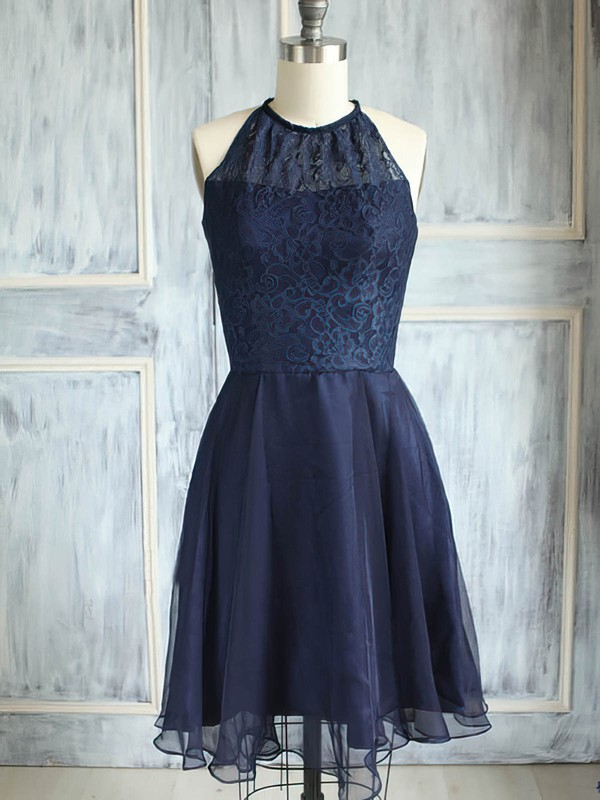 Scoop Neck Dark Navy Knee-length Elegant Chiffon Lace Bridesmaid Dress #PWD01012474