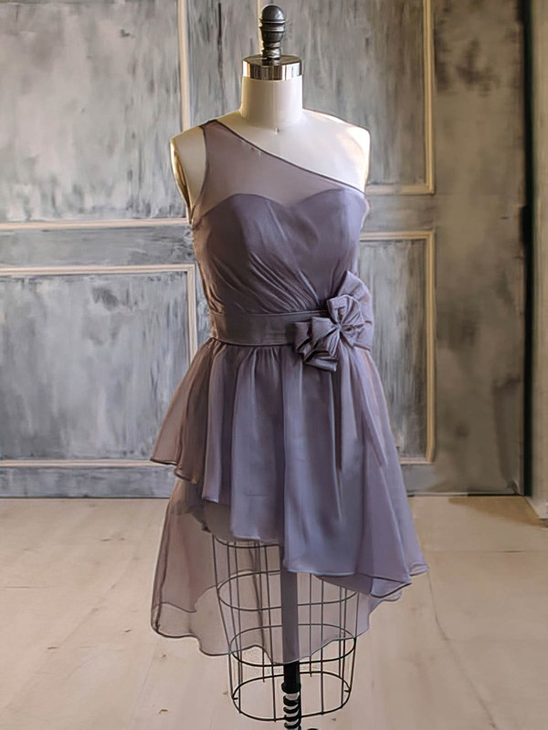 Perfect Light Slate Gray Chiffon Flower(s) Short/Mini One Shoulder Bridesmaid Dress #PWD01012476