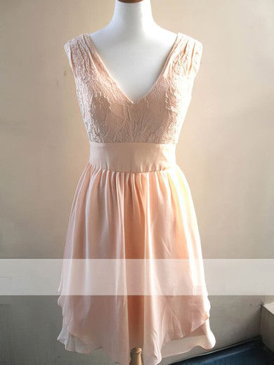 V-neck Chiffon Lace Knee-length Pearl Pink Latest Bridesmaid Dress #PWD01012478