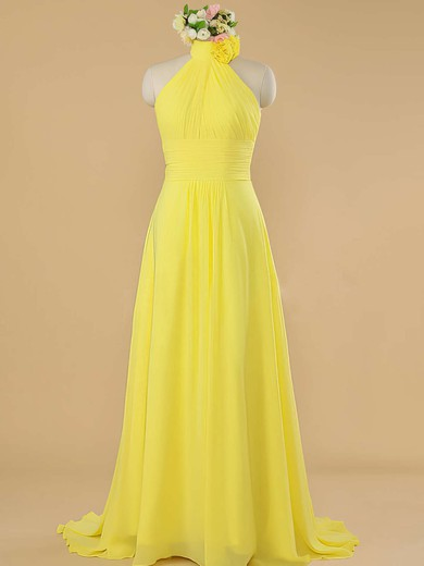 Sweep Train Halter Chiffon with Ruffles Perfect Bridesmaid Dress #PWD01012482