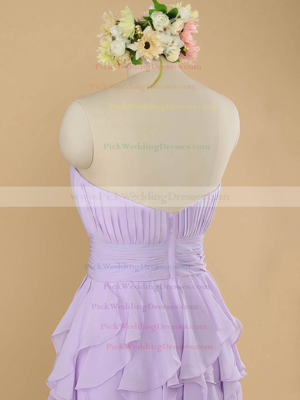 Strapless Chiffon Tiered Cute Knee-length Bridesmaid Dresses #PWD01012483
