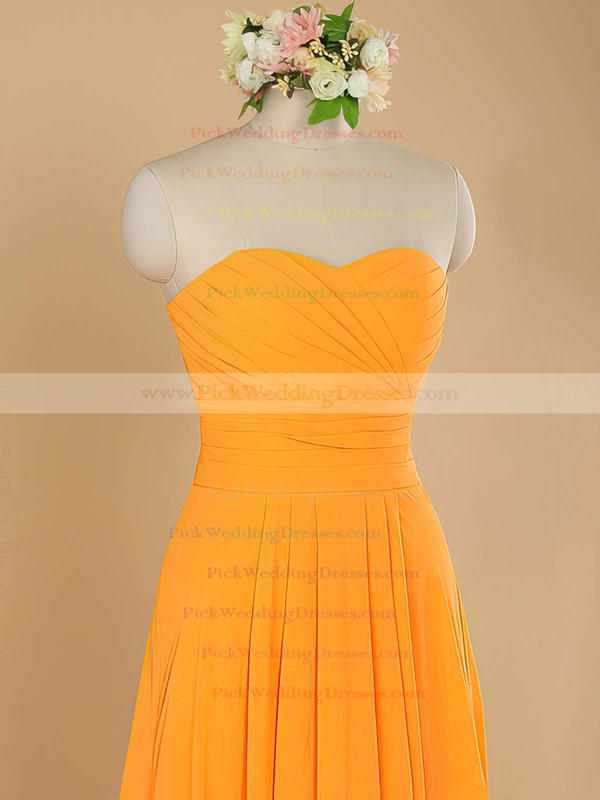 Promotion Sheath/Column Sweetheart Orange Chiffon Ruffles Bridesmaid Dress #PWD01012484