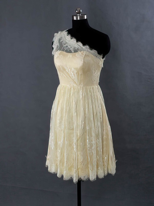 Lace One Shoulder Short/Mini Sashes / Ribbons Wholesale Bridesmaid Dresses #PWD01012485