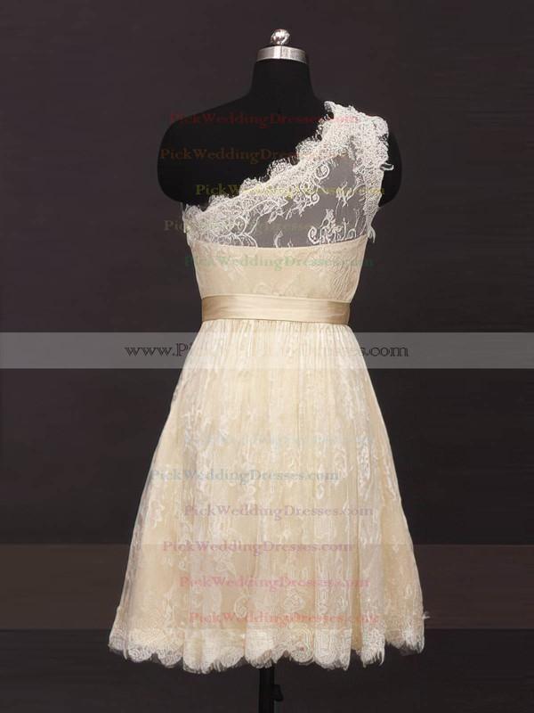 Lace One Shoulder Short/Mini Sashes / Ribbons Wholesale Bridesmaid Dresses #PWD01012485