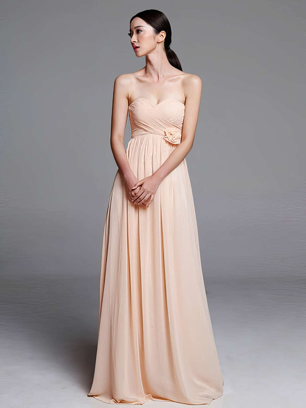 Empire Discount Chiffon with Flower(s) Ruffles Sweetheart Bridesmaid Dresses #PWD01012487