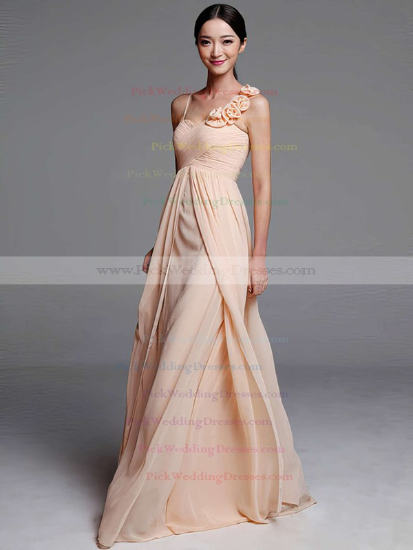 Sheath/Column Chiffon Ruffles Flower(s) Sweetheart Gorgeous Bridesmaid Dresses #PWD01012489