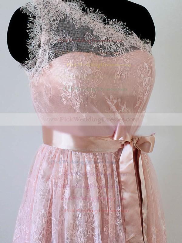 Ladies One Shoulder Pink Lace Sashes / Ribbons Short/Mini Bridesmaid Dress #PWD01012490