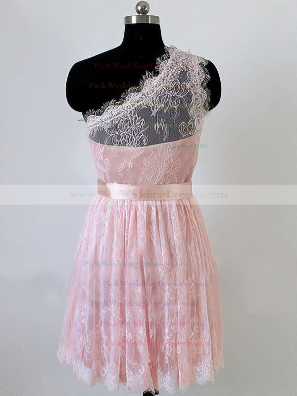 Ladies One Shoulder Pink Lace Sashes / Ribbons Short/Mini Bridesmaid Dress #PWD01012490