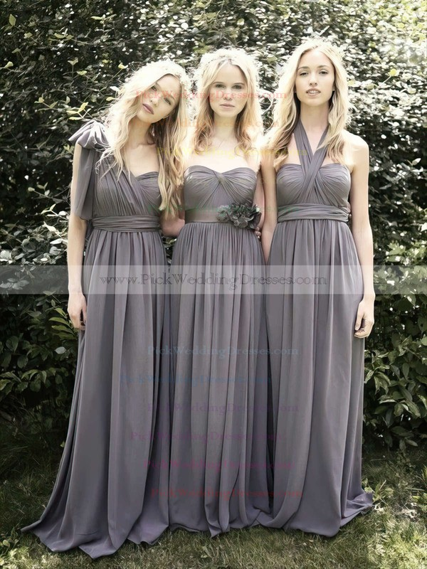 Empire Sweetheart Gray Chiffon Ruffles Vintage Bridesmaid Dresses #PWD01012491