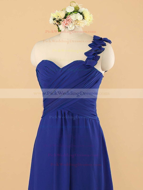 One Shoulder Royal Blue Womens Chiffon with Ruffles Bridesmaid Dress #PWD01012492