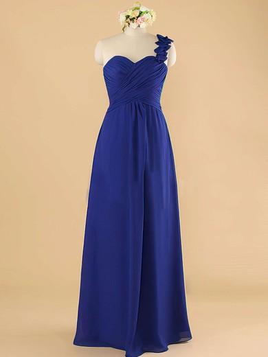 5fa4fb910d6 One Shoulder Royal Blue Womens Chiffon with Ruffles Bridesmaid Dress   PWD01012492