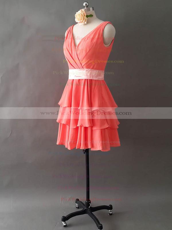 Elegant V-neck Watermelon Chiffon Short/Mini Tiered Bridesmaid Dresses #PWD01012495