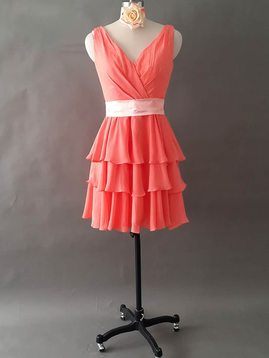 Elegant V-neck Watermelon Chiffon Short/Mini Tiered Bridesmaid Dresses #PWD01012495