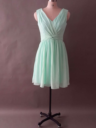 Chiffon with Ruffles and Criss Cross V-neck Boutique Knee-length Bridesmaid Dress #PWD01012496