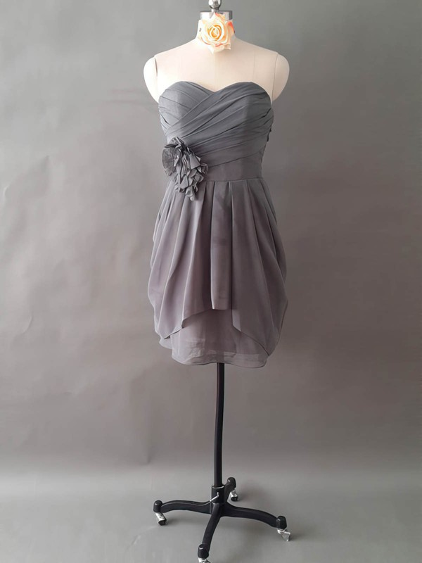 Sweetheart Unusual Chiffon Short/Mini Ruffles Flower(s) Bridesmaid Dresses #PWD01012497