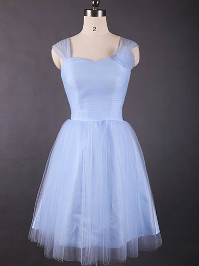 Newest Sweetheart Tulle Knee-length Ruffles Light Sky Blue Bridesmaid Dresses #PWD01012498