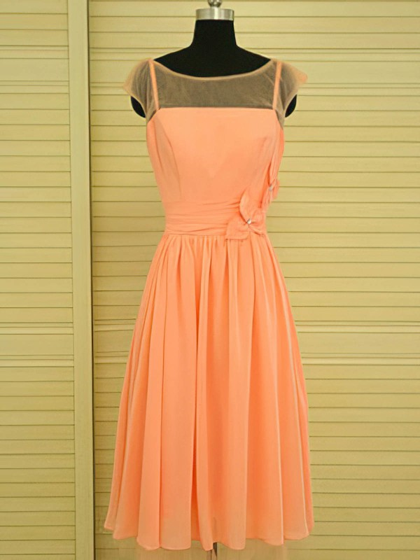 Scoop Neck Glamorous Orange Knee-length Chiffon Beading Bridesmaid Dress #PWD01012499