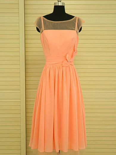 Scoop Neck Glamorous Orange Knee-length Chiffon Beading Bridesmaid Dress #PWD01012499