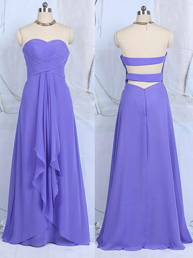 Nice Sweetheart Lavender Chiffon Ruffles Floor-length Bridesmaid Dresses #PWD01012502