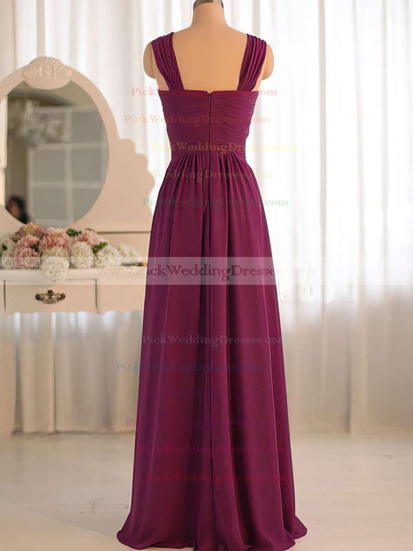 V-neck Grape Chiffon Ruffles Criss Cross Hot Bridesmaid Dress #PWD01012503