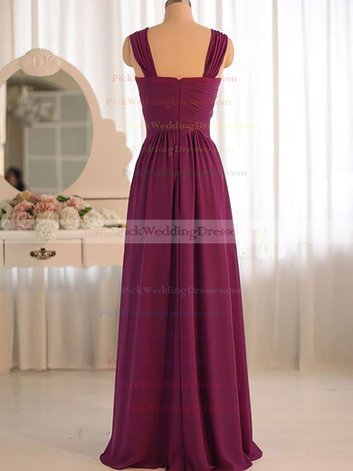 V-neck Grape Chiffon Ruffles Criss Cross Hot Bridesmaid Dress #PWD01012503