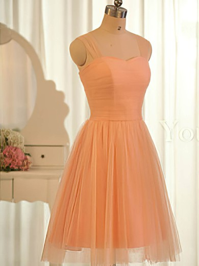 Sweetheart Orange Tulle Popular Ruffles Knee-length Bridesmaid Dresses #PWD01012504