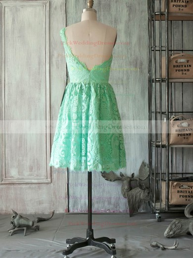 Sage One Shoulder Lace Classic Short/Mini Ruffles Bridesmaid Dress #PWD01012505