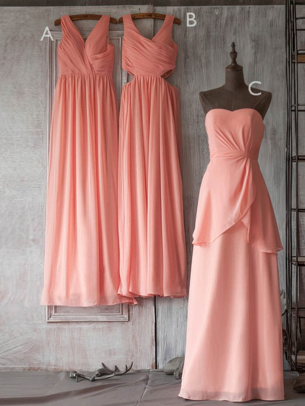 Floor-length V-neck Modest Chiffon with Ruffles Bridesmaid Dresses #PWD01012506