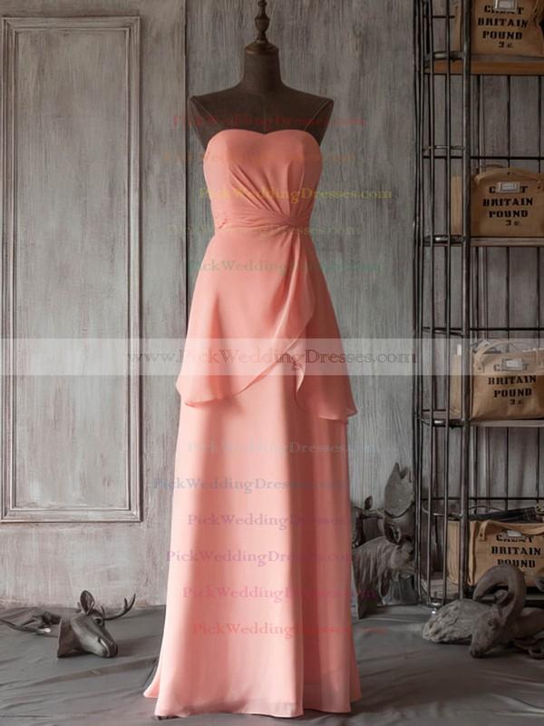 Floor-length V-neck Modest Chiffon with Ruffles Bridesmaid Dresses #PWD01012506