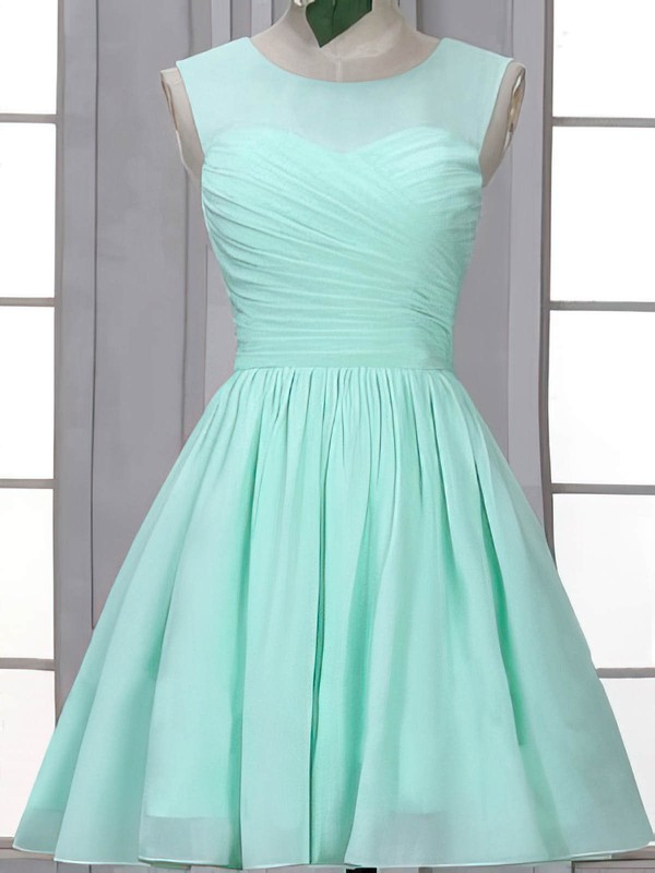 Girls Scoop Neck Chiffon Ruffles Short/Mini Bridesmaid Dress #PWD01012507