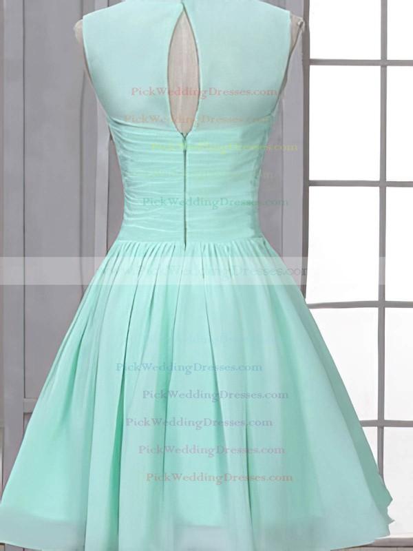 Girls Scoop Neck Chiffon Ruffles Short/Mini Bridesmaid Dress #PWD01012507