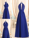 A-line Royal Blue Halter Chiffon Ruffles Different Bridesmaid Dresses #PWD01012508