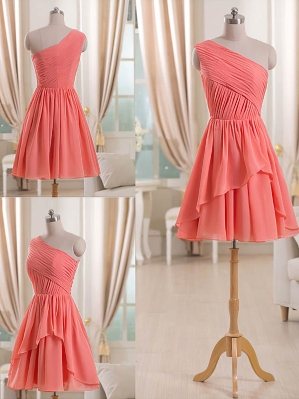 Tiered One Shoulder Simple Chiffon Short/Mini Bridesmaid Dress #PWD01012509
