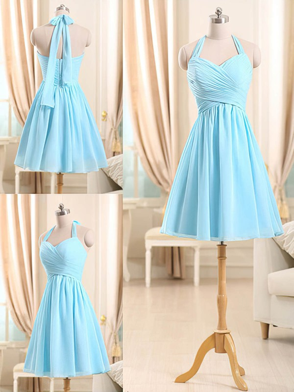 Light Sky Blue Halter Chiffon Amazing Short/Mini Ruffles Bridesmaid Dresses #PWD01012510