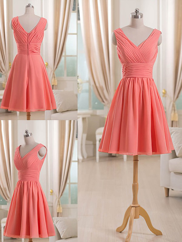 Short/Mini V-neck Discounted Chiffon Ruffles Bridesmaid Dress #PWD01012511