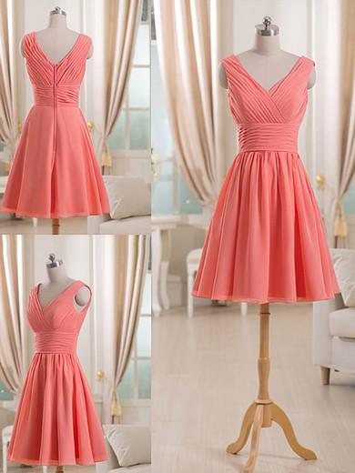 Short/Mini V-neck Discounted Chiffon Ruffles Bridesmaid Dress #PWD01012511