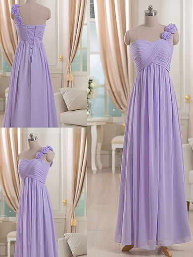 One Shoulder Chiffon Flower(s) Lilac Empire Bridesmaid Dresses #PWD01012512
