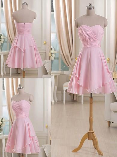 Sweetheart Short/Mini Ruffles Chiffon Pretty Pink Bridesmaid Dresses #PWD01012513