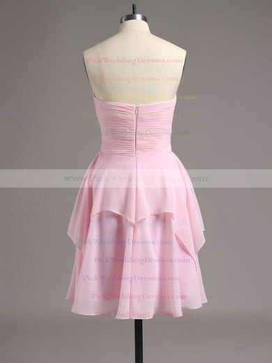 Sweetheart Short/Mini Ruffles Chiffon Pretty Pink Bridesmaid Dresses #PWD01012513
