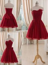Tulle Flower(s) Short/Mini Strapless Fashion Burgundy Bridesmaid Dresses #PWD01012514