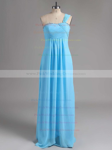 Beautiful Beading Chiffon Empire Lace-up One Shoulder Bridesmaid Dresses #PWD01012515