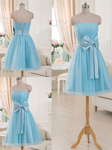Sweet Blue Tulle Short/Mini Bow Lace-up Strapless Bridesmaid Dresses #PWD01012516
