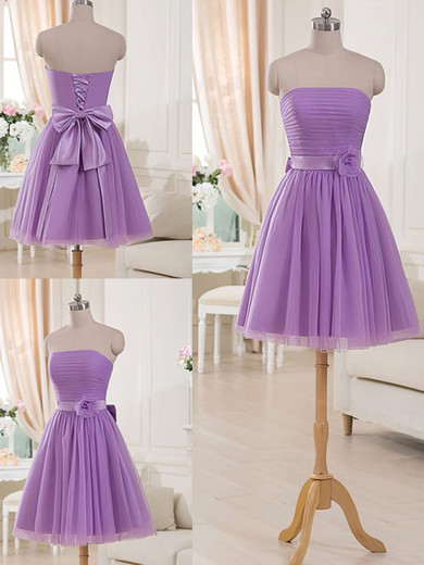 eb45798e0d9 Strapless Short Mini Lilac Tulle Sashes Ribbons Cute Bridesmaid Dresses   PWD01012517