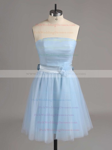 Strapless Short/Mini Lilac Tulle Sashes/Ribbons Cute Bridesmaid Dresses #PWD01012517