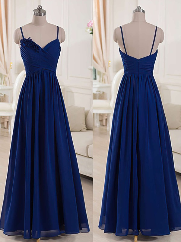 Chiffon Ruffles V-neck Spaghetti Straps Online Royal Blue Bridesmaid Dresses #PWD01012518