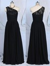 Promotion A-line Black Lace Chiffon One Shoulder Bridesmaid Dresses #PWD01012520