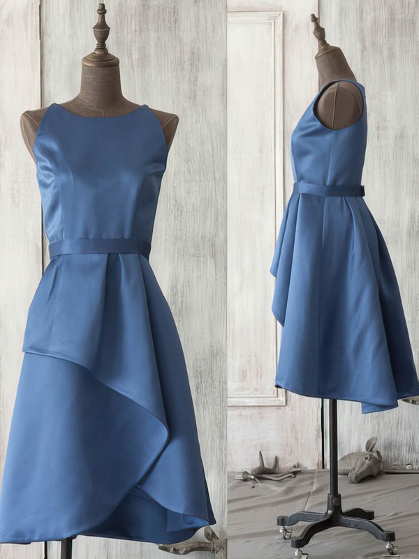 Dark Navy Satin Scoop Neck Sashes/Ribbons Knee-length Vintage Bridesmaid Dress #PWD01012521