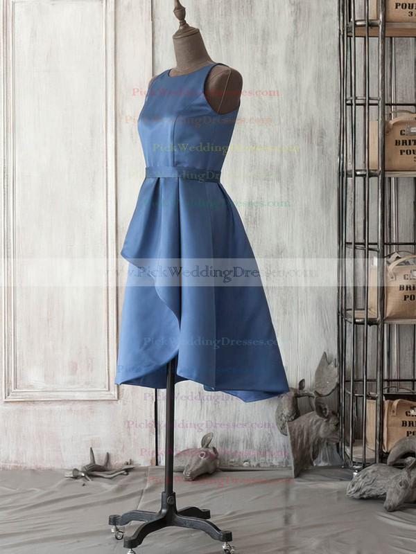 Dark Navy Satin Scoop Neck Sashes/Ribbons Knee-length Vintage Bridesmaid Dress #PWD01012521